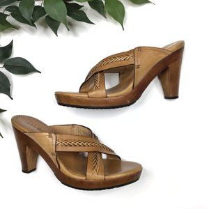 Cole Haan Leather Strappy Wooden Heel Mules